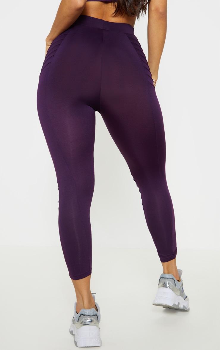 Aubergine Ribbed 3/4 Gym Legging 4