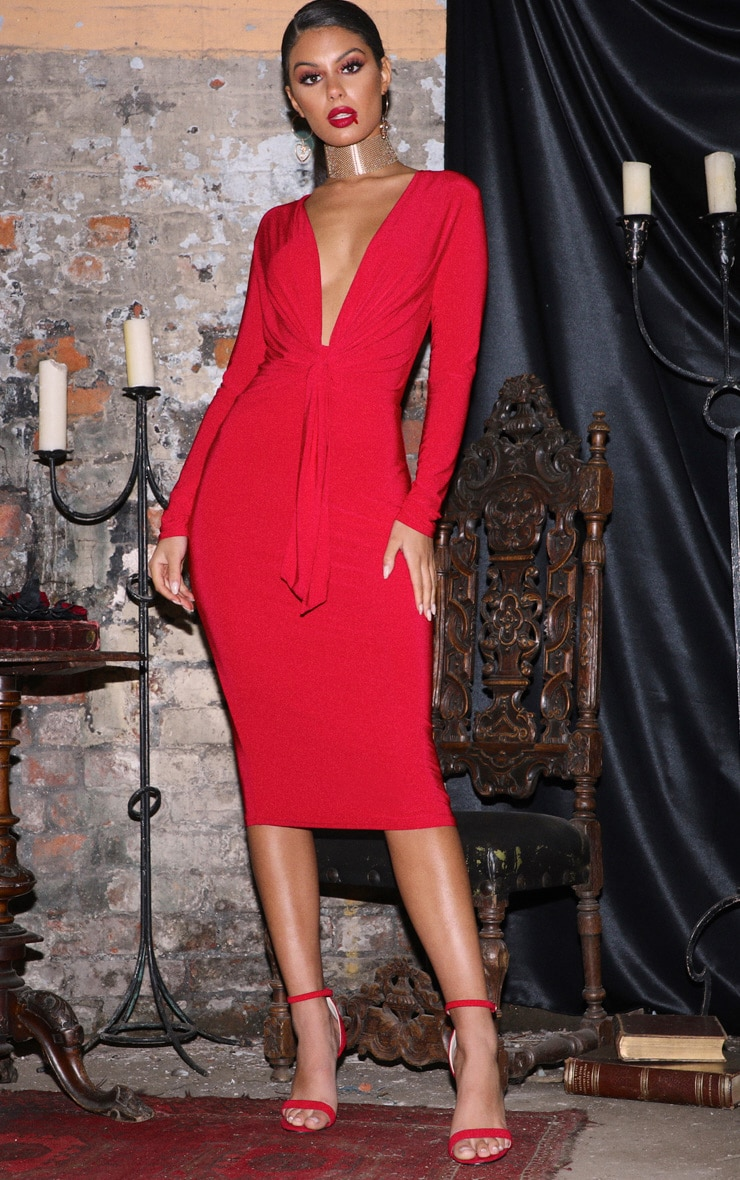 Red Long Sleeve Tie Front Midi Dress