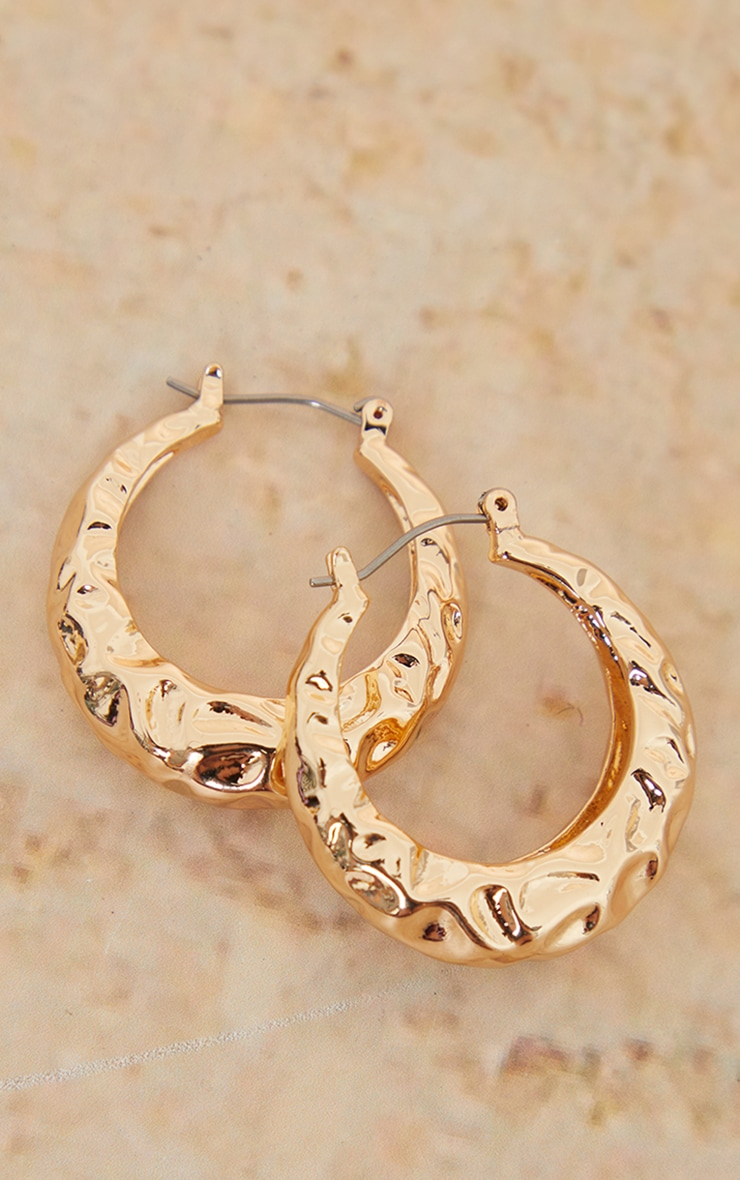 Gold Hammered Small Hoop Earrings 3
