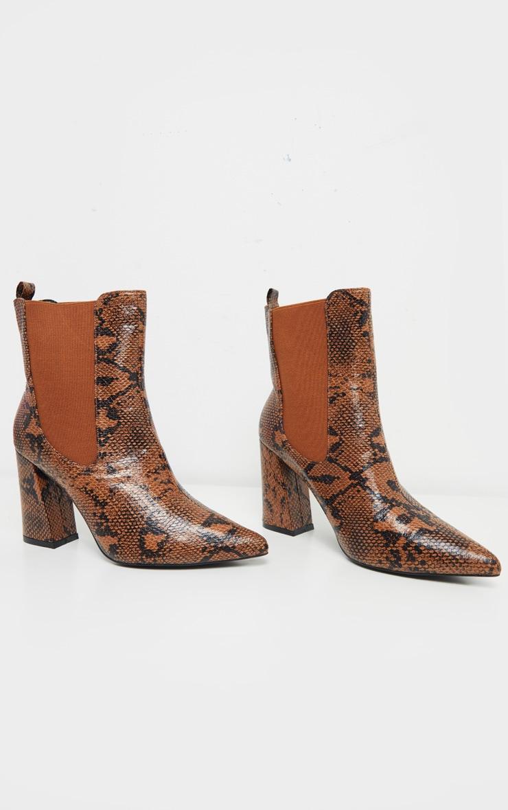 Brown Snake Point Toe Block Heel Chelsea Ankle Boot 3
