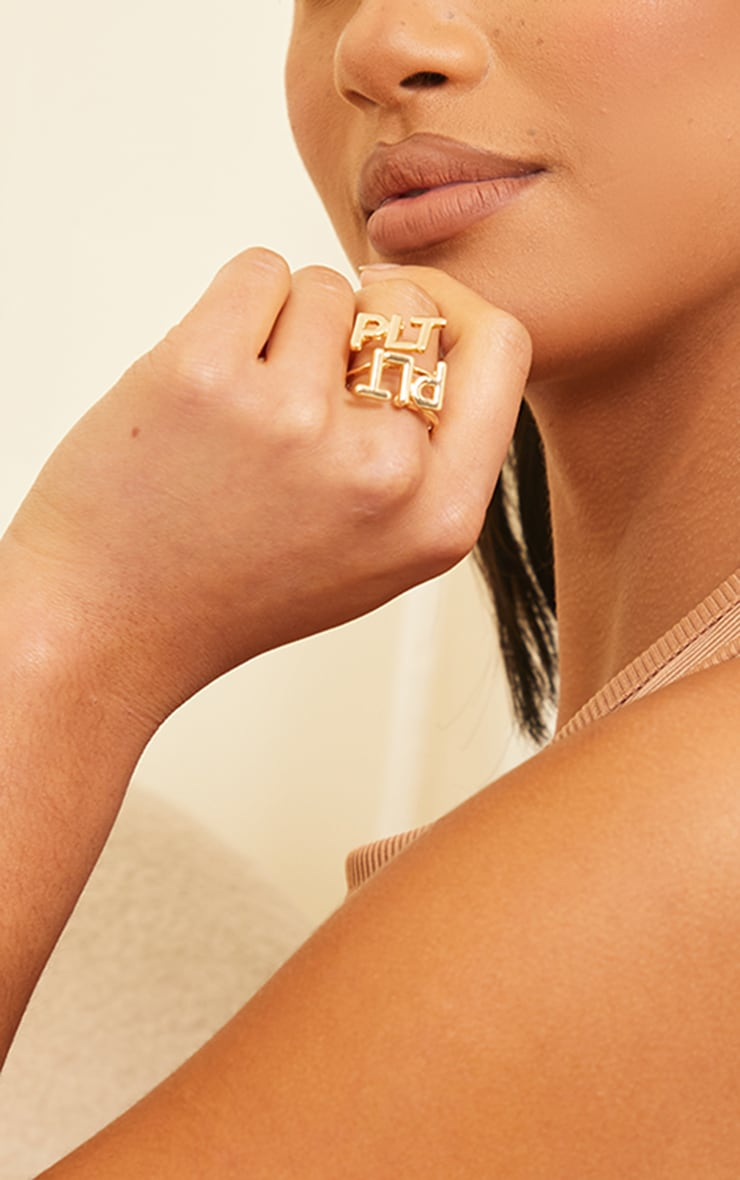 PRETTYLITTLETHING Gold Cut Out Ring 2