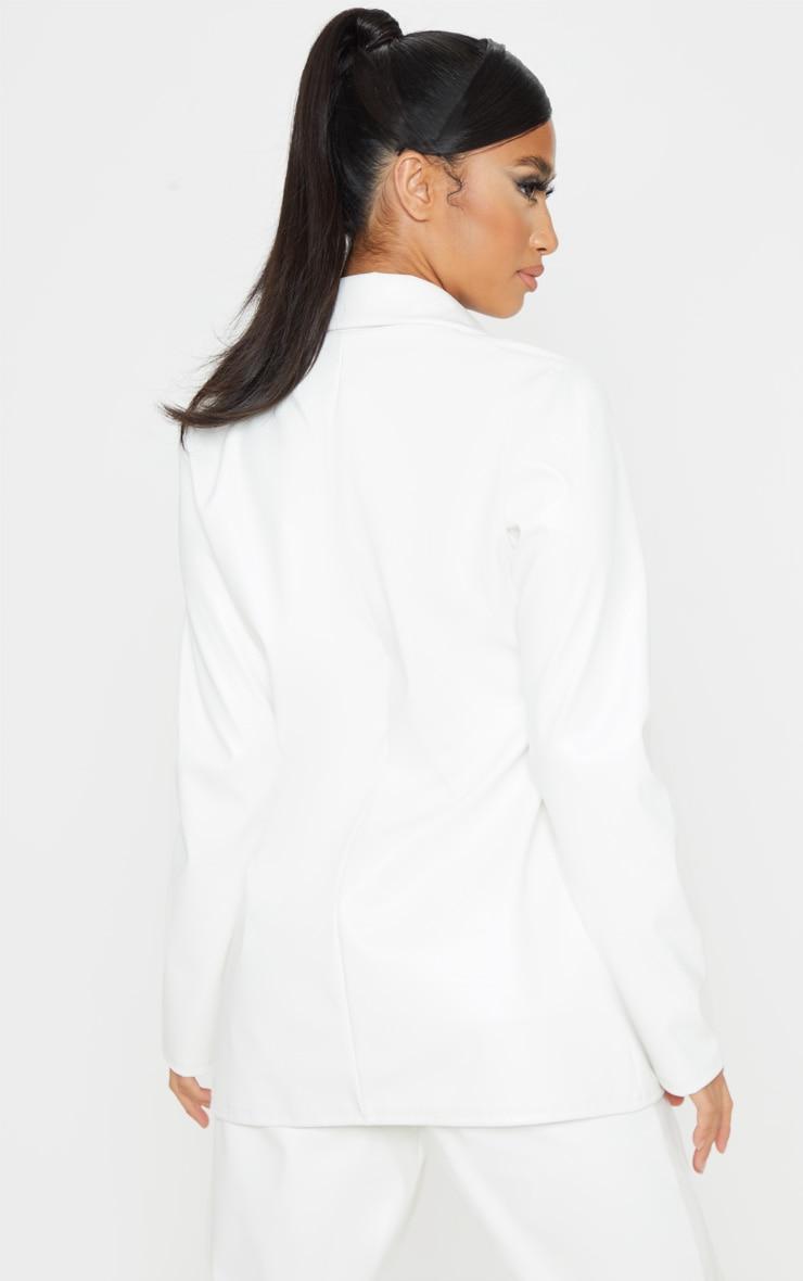 Petite White PU Blazer 2