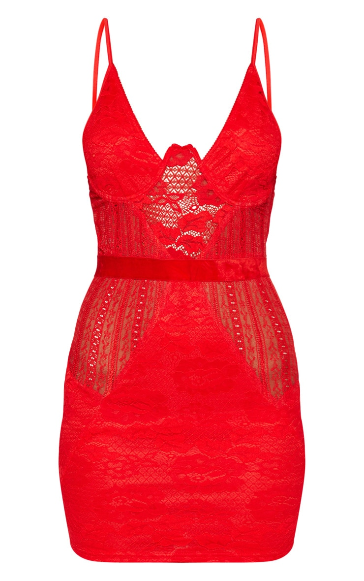 Red Strappy Bustier Lace Bodycon Dress 3