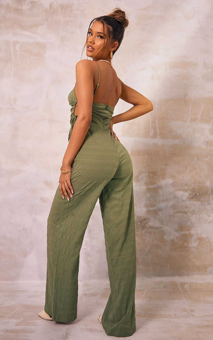 Khaki Crinkle Ruched Side Strappy Jumpsuit 2