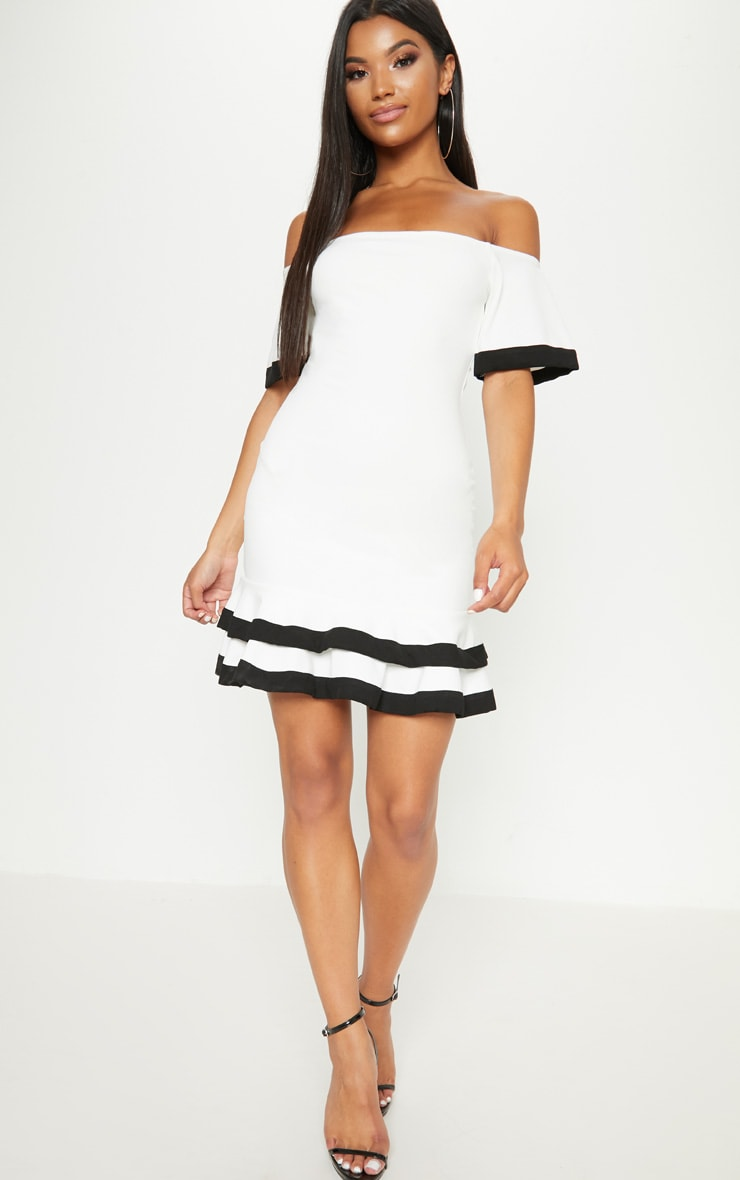White Bardot Binding Detail Frill Hem Bodycon Dress 4