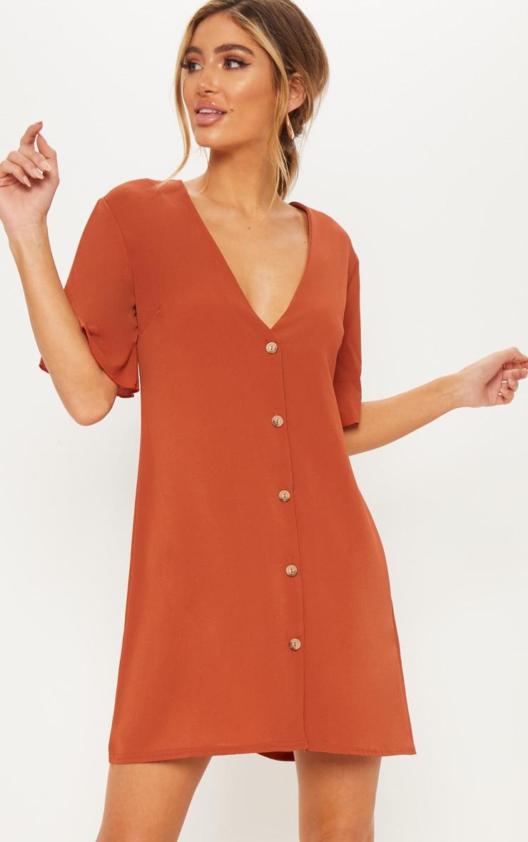 Rust Oversized Button Front Shirt Dress