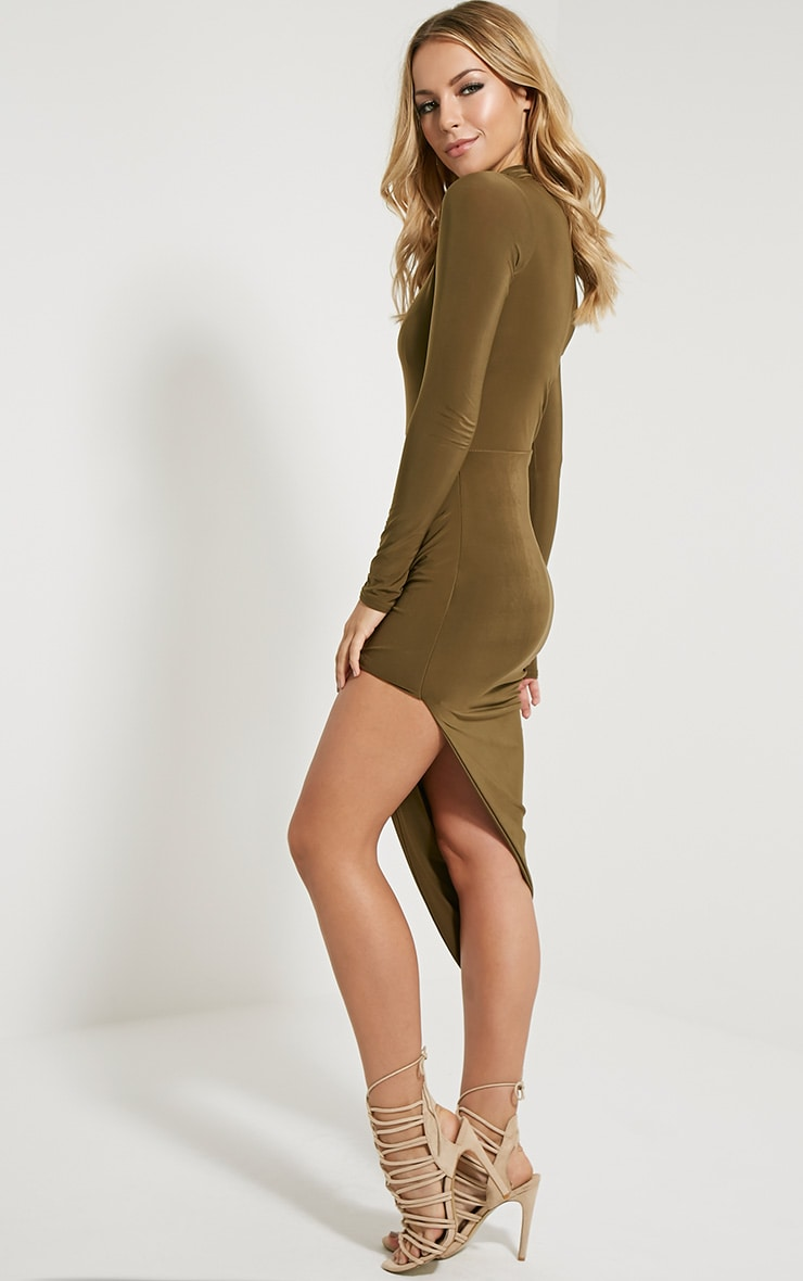 Saffy Khaki Long Sleeve Drape Dress 3