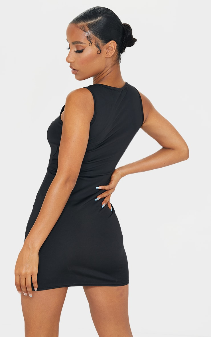 Black Double Strap Halterneck Detail Bodycon Dress 2