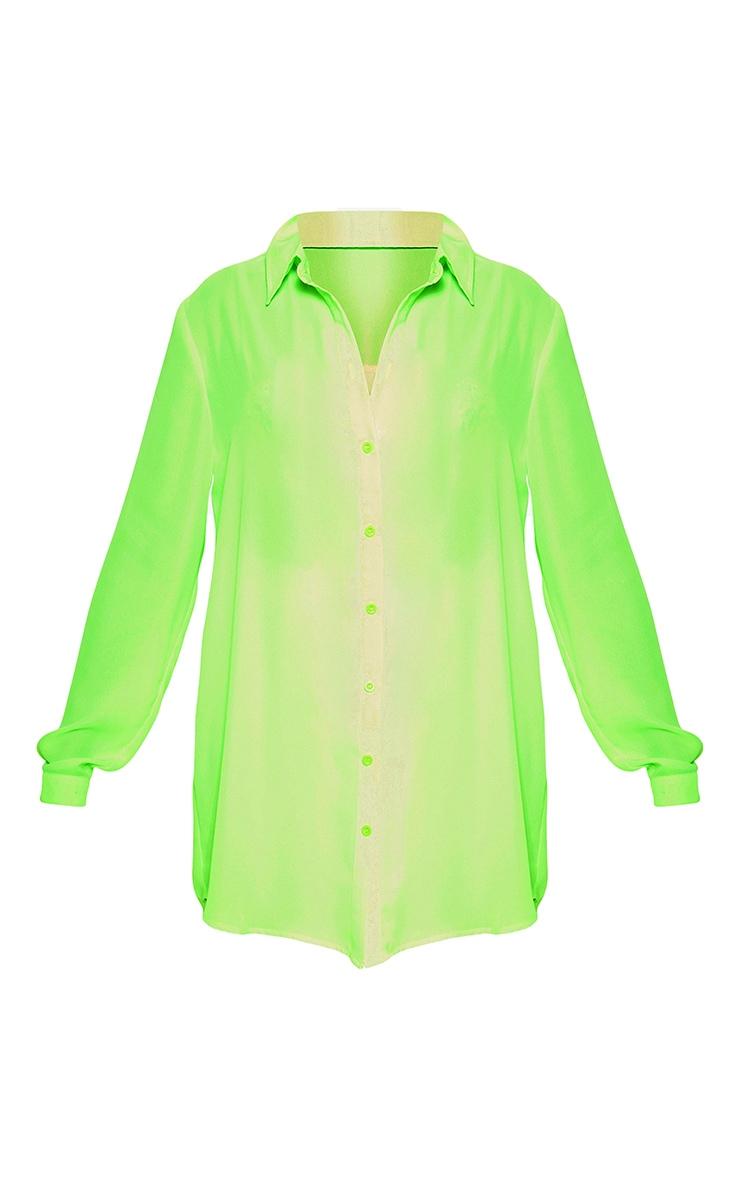 Petite Neon Green Oversized Beach Shirt 3