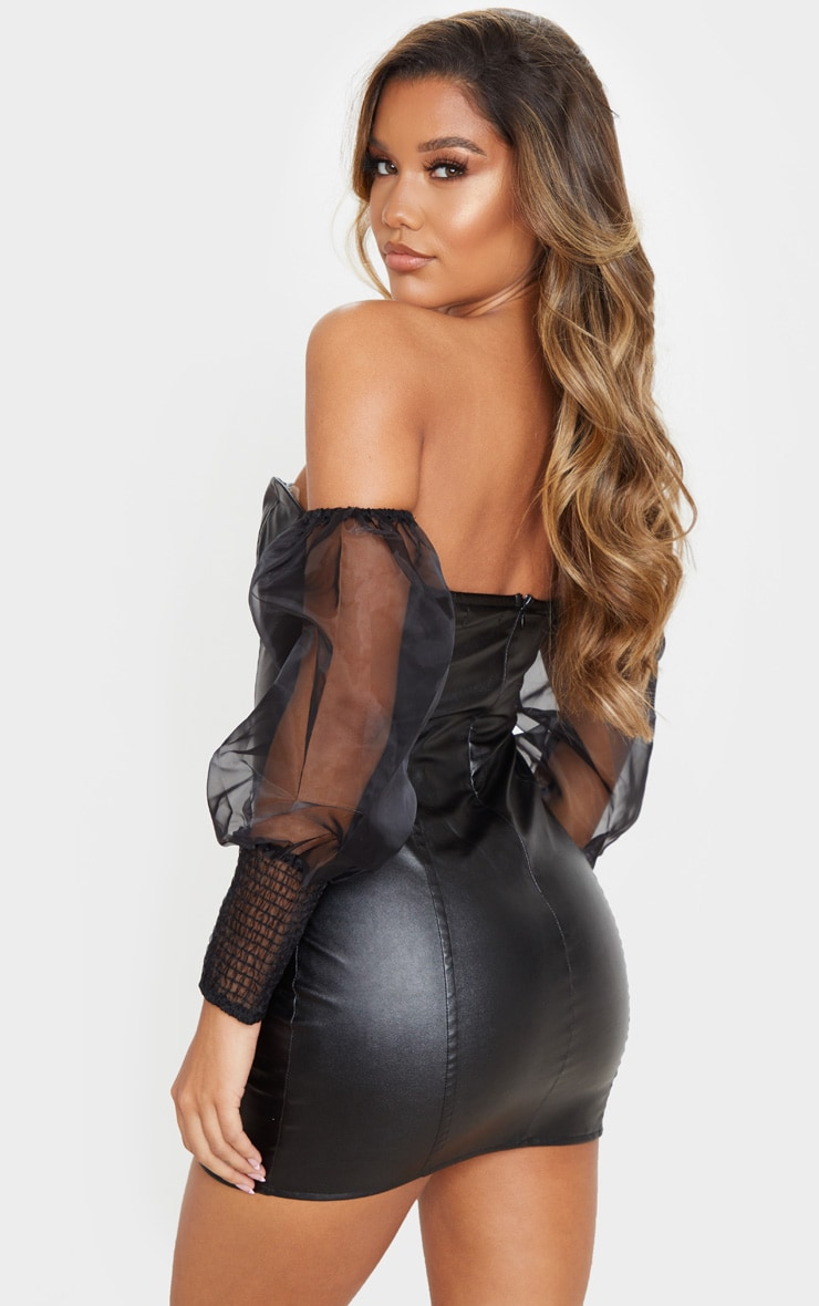Black PU Organza Sleeve Bardot Bodycon Dress 2