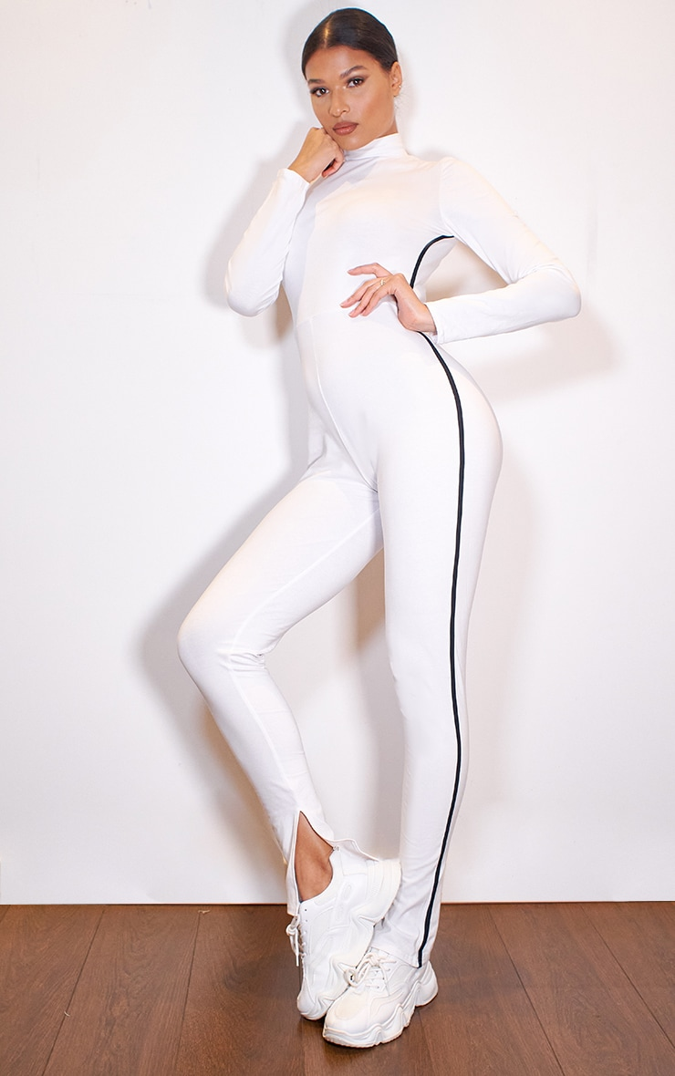 White Sports Stripe High Neck Jumpsuit 1