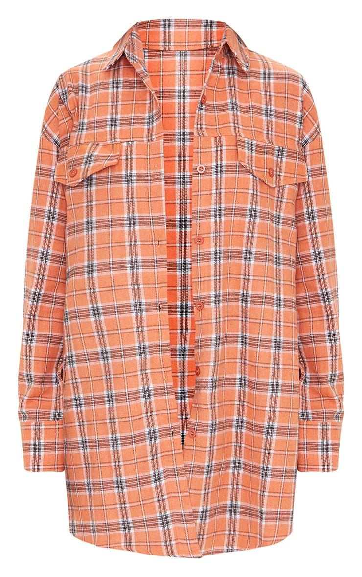 PRETTYLITTLETHING Orange Back Print Checked Oversized Shirt 5