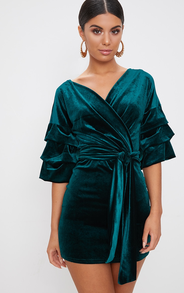 3d172c6d4356 Emerald Green Tuck Sleeve Wrap front Tie Waist Midi Dress image 1