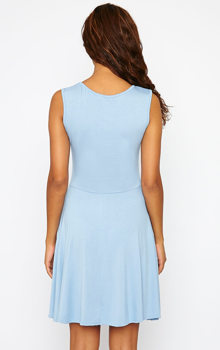 Basic Powder Blue Skater Dress 2