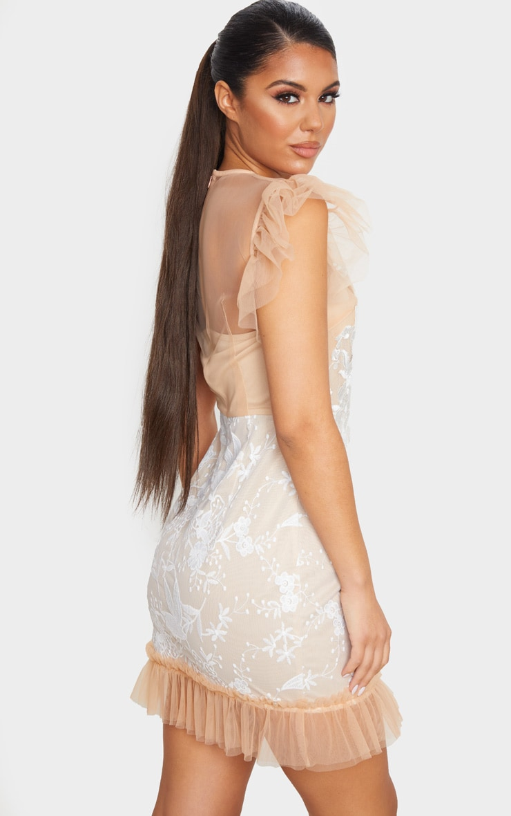 Nude Mesh Embroidered Short Sleeve Frill Detail Bodycon Dress 2