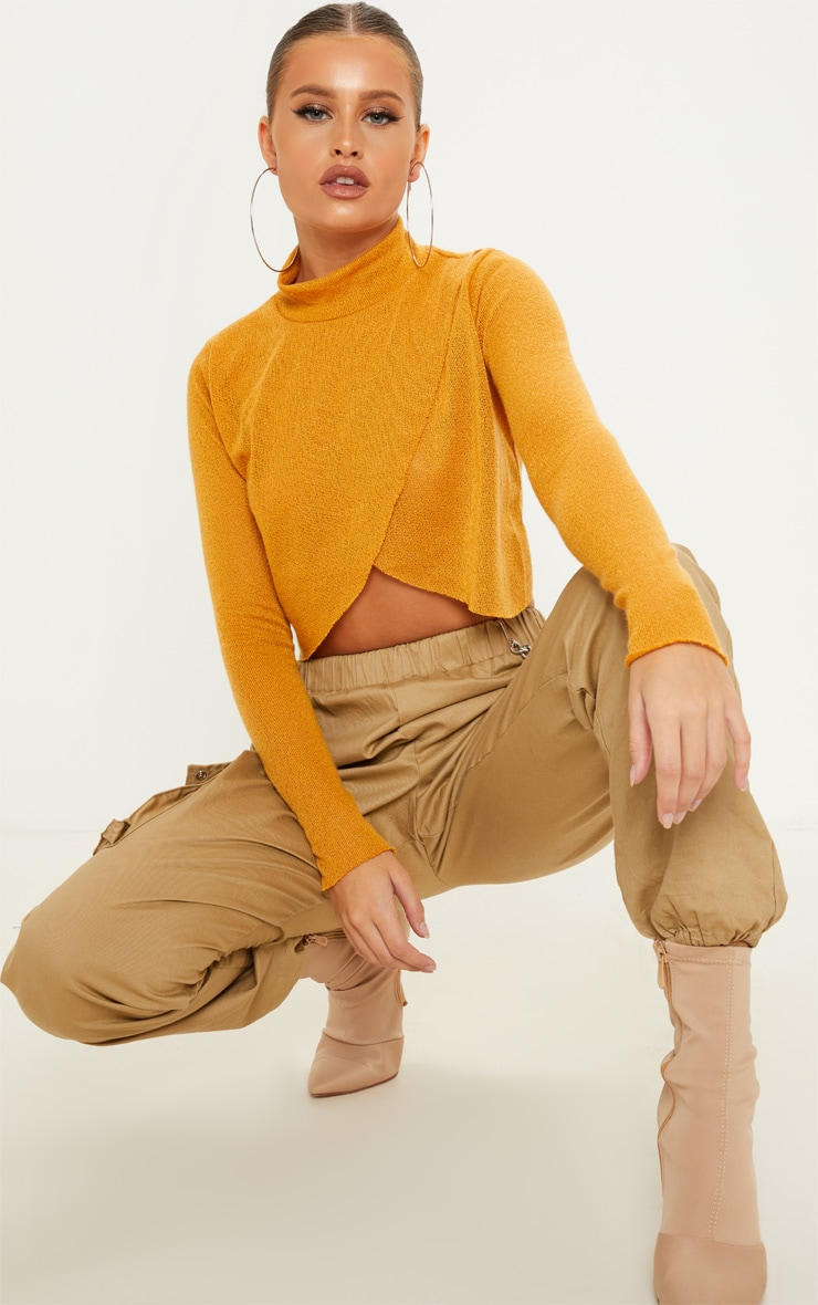 Mustard Lightweight Knit Wrap Front Crop Top