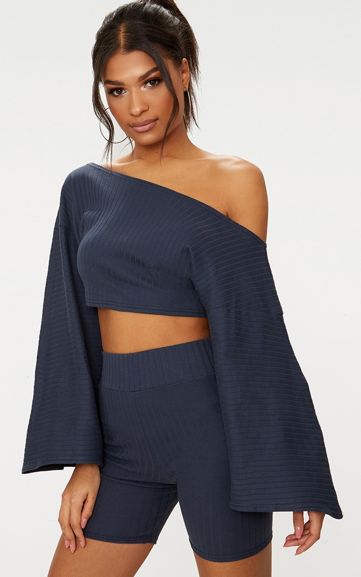 Charcoal Grey Rib Off The Shoulder Crop Top 1