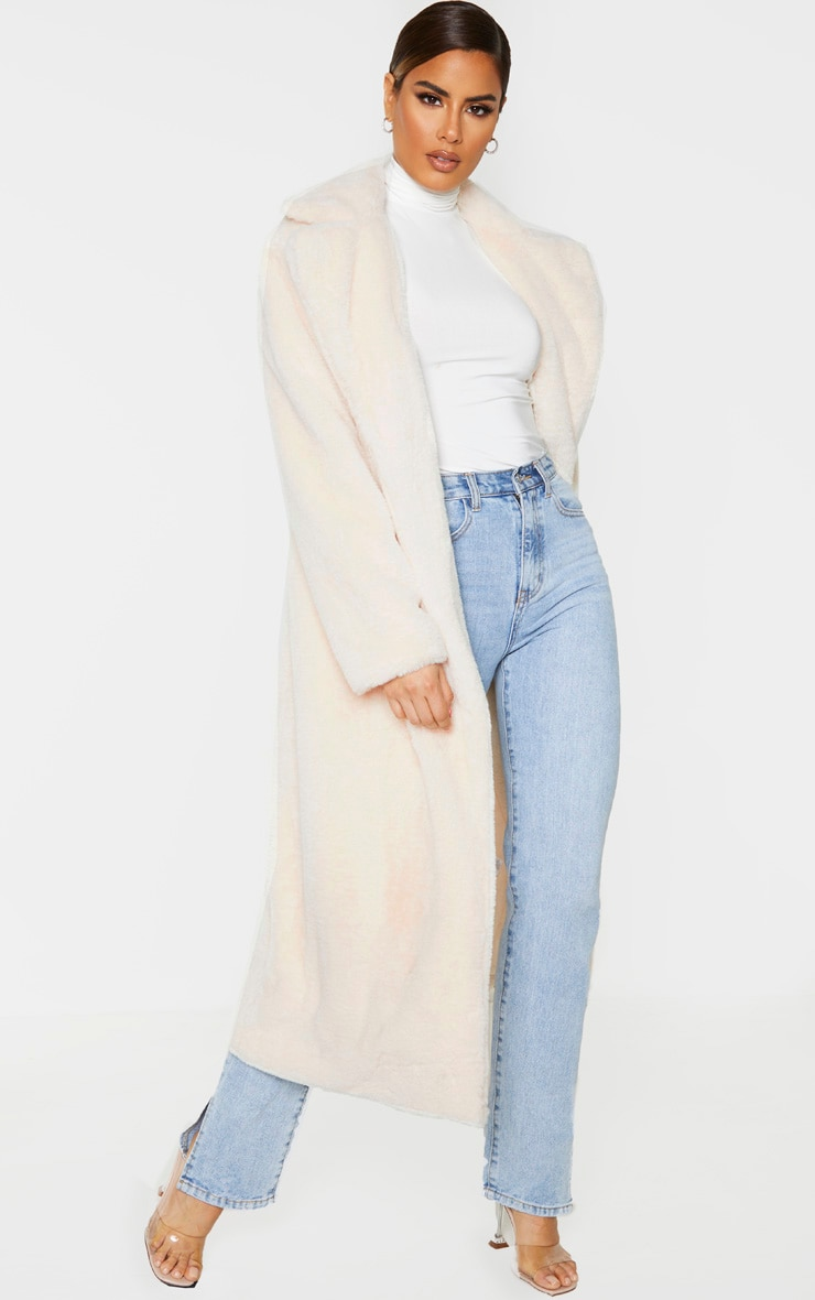 Tall Cream Belted Faux Fur Coat 4