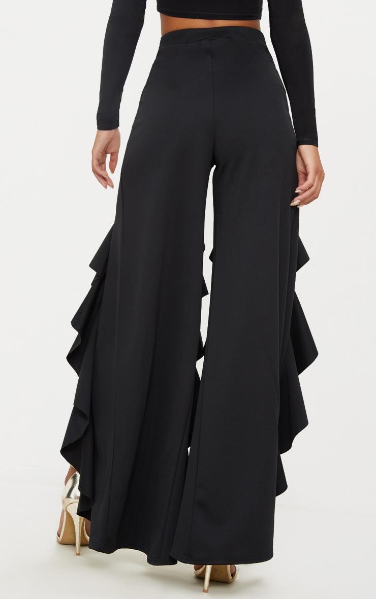 Black Ruffle Front Wide Leg Trouser  3