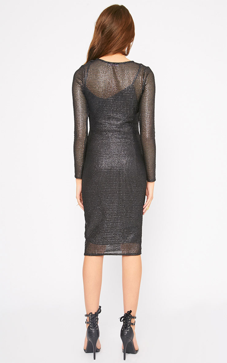 Delphia Black Net Midi Dress 2
