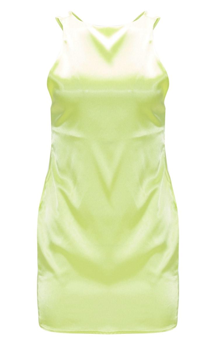 Lime Satin Strap Detail Shift Dress 3