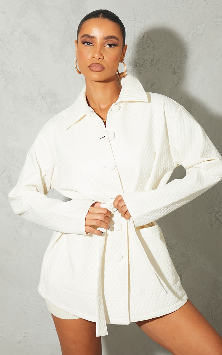 Cream PU Quilted Longline Belted Shacket 3
