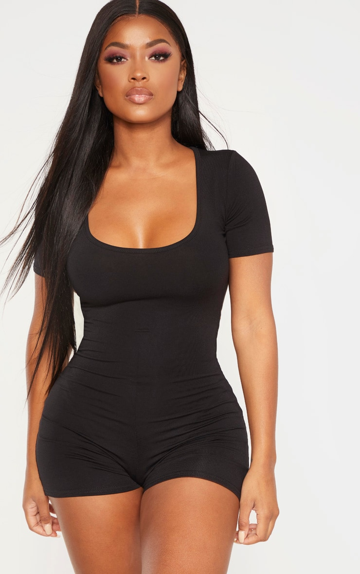 Shape Black Short Sleeve Unitard 4