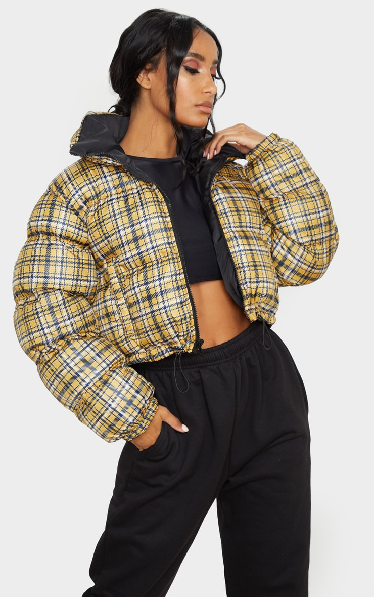 Mustard Check Print Reversible Zip Up Puffer Jacket 3