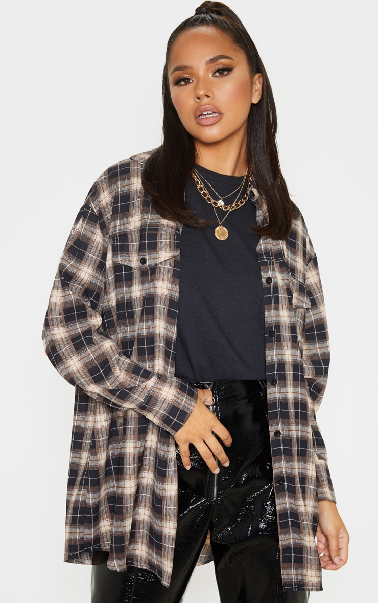 Chocolate Checked Pocket Detail Oversized Shirt 6
