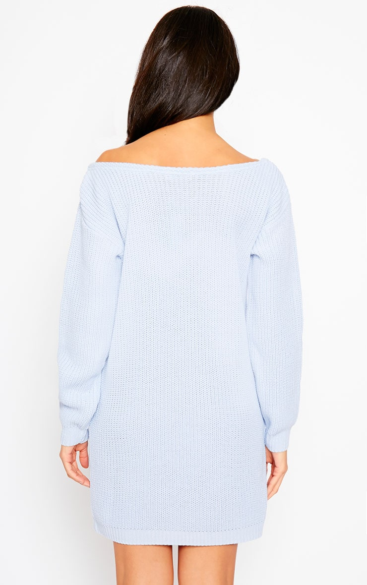 Larissa Powder Blue Off The Shoulder Knitted Dress 2
