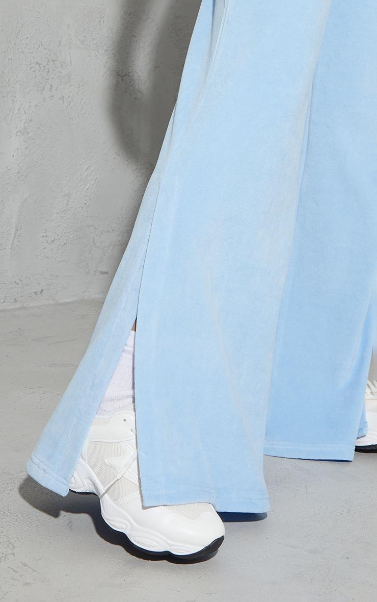 Ice Blue Velour Wide Leg Split Hem Pants 4