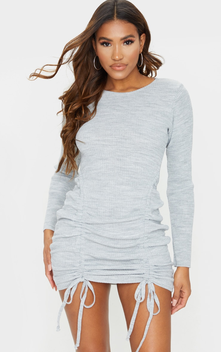 Grey Long Sleeve Ruched Knitted Dress 1