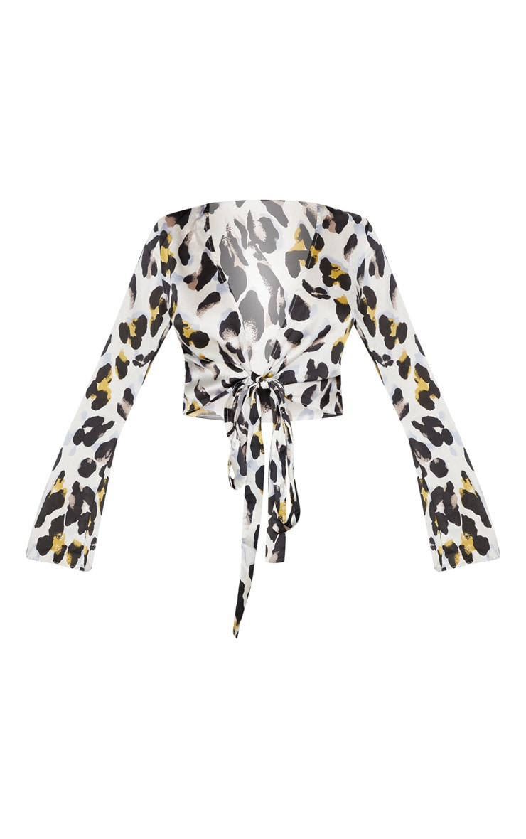 White Satin Leopard Print Tie Front Crop Top 3