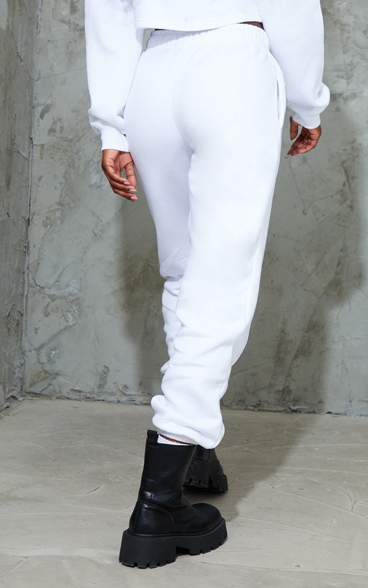 PRETTYLITTLETHING White Badge Detail Seam Front Cuffed Joggers 3