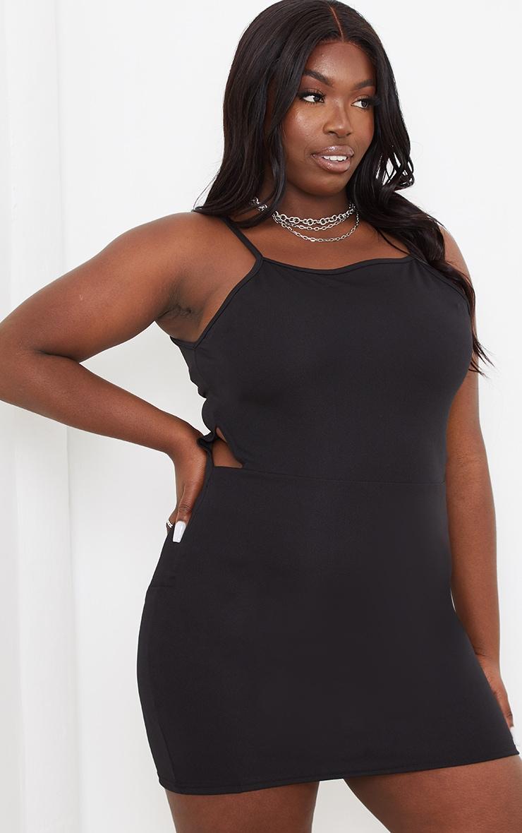 Plus Black Cut Out Bodycon Dress 1