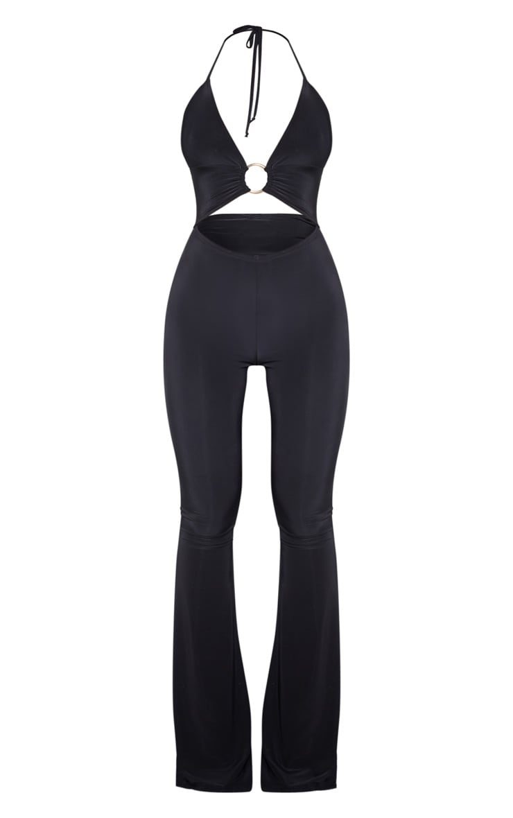 Black Plunge Ring Detail Flare Leg Jumpsuit 3