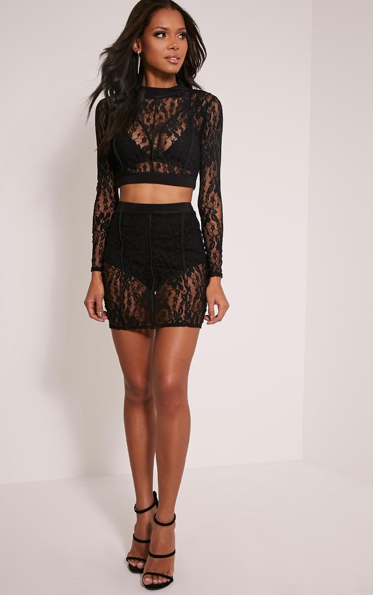 Oliviana Black Sheer Lace Crop Top 5