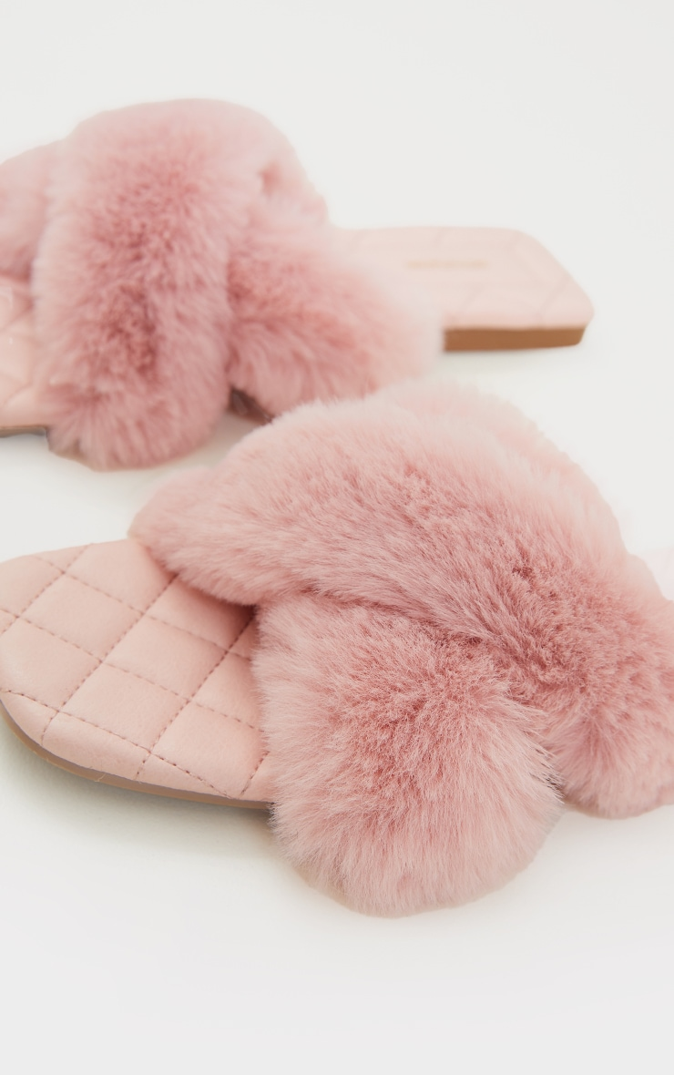 Pink Faux Fur Cross Strap Square Toe Sandals 4