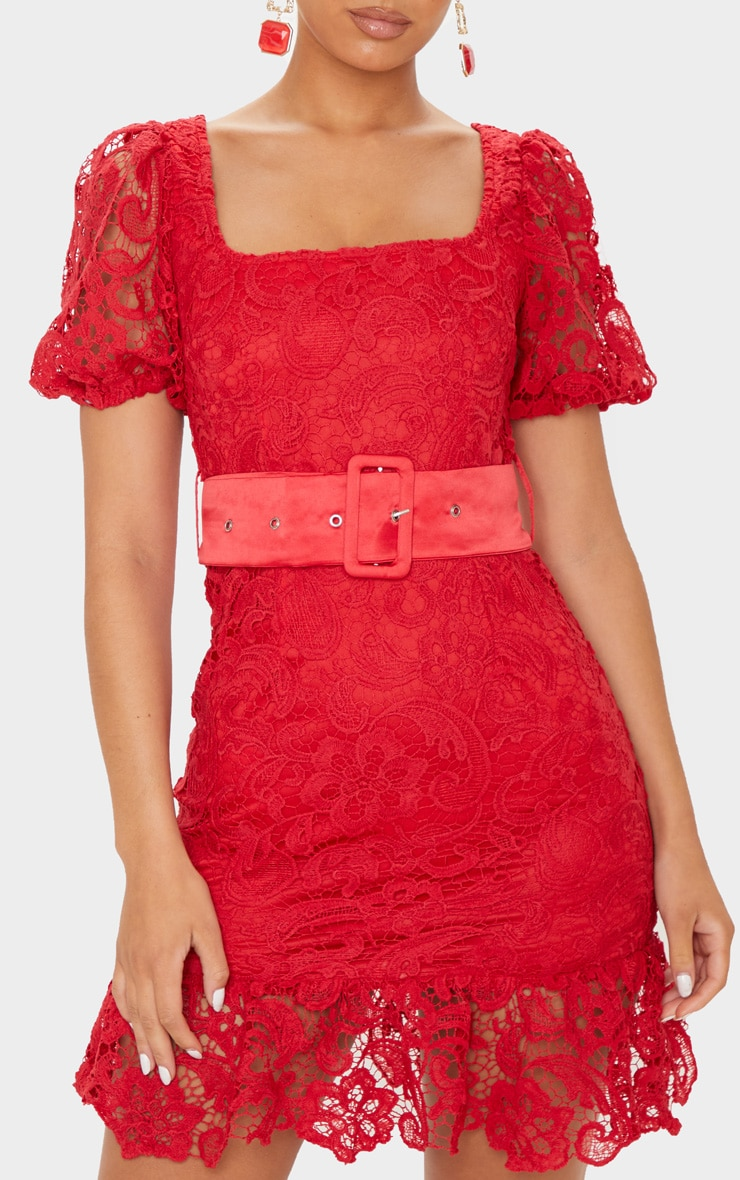 Red Lace Belted Puff Sleeve Bodycon Dress 5