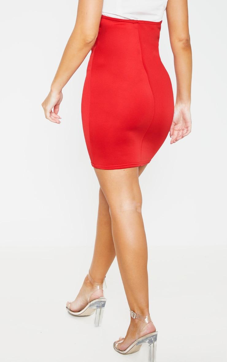 Red Scuba Bustier Mini Skirt  5