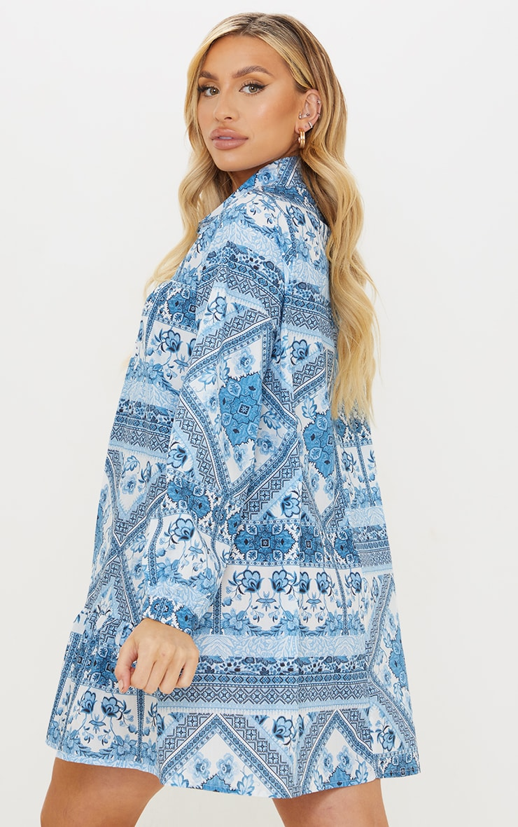 Maternity Blue Oversized Tapestry Print Long Sleeve Smock Dress 2