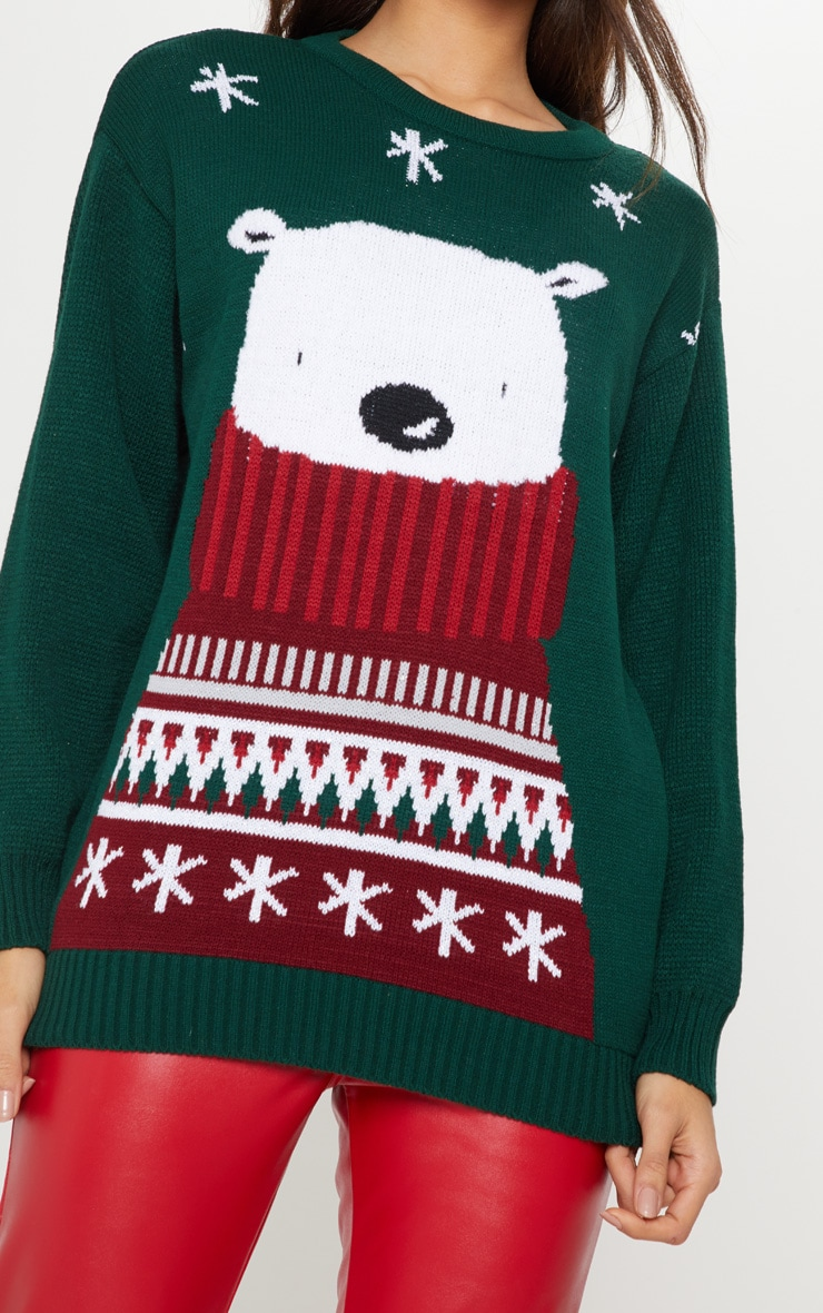Polar Bear Bottle Green Knitted Sweater 5
