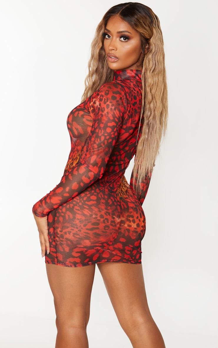 Shape Red Leopard Print Sheer Mesh High Neck Bodycon Dress 2