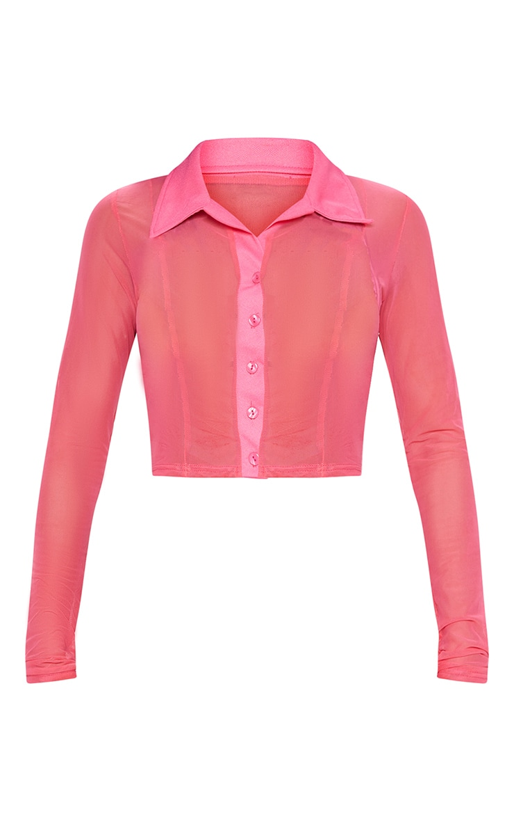 Pink Sheer Mesh Long Sleeve Crop Shirt 3