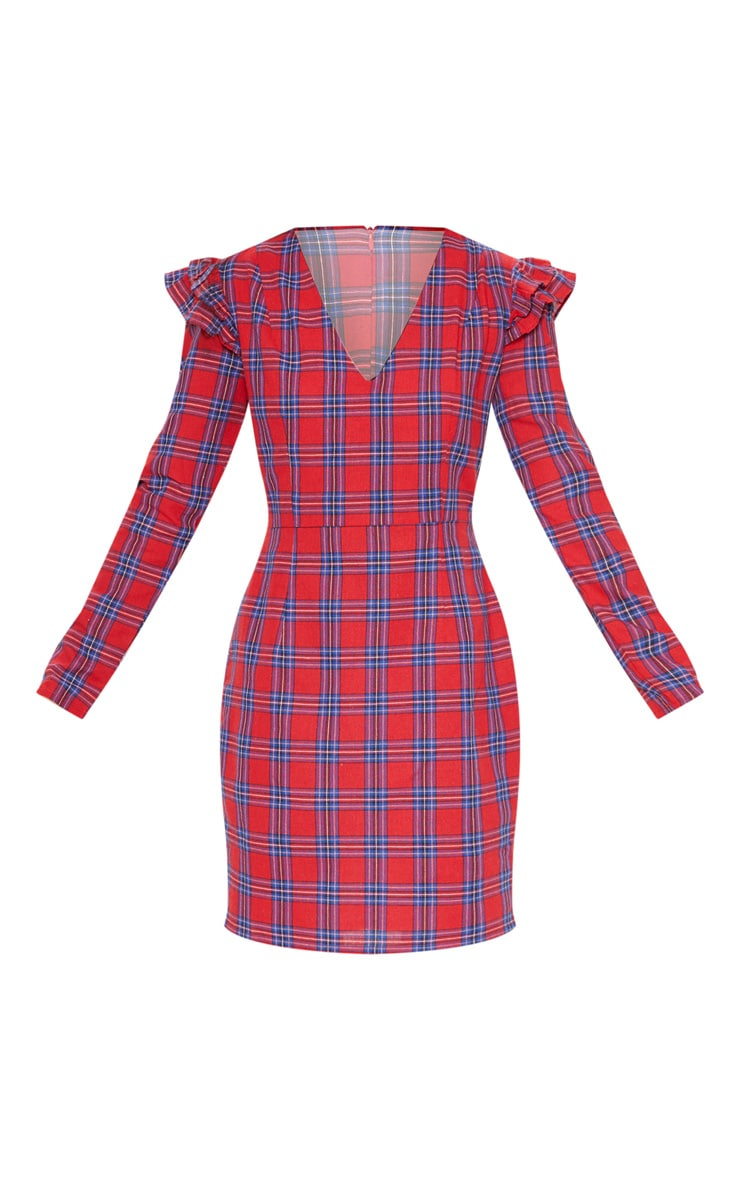 Red Tartan Frill Sleeve Shift Dress 3