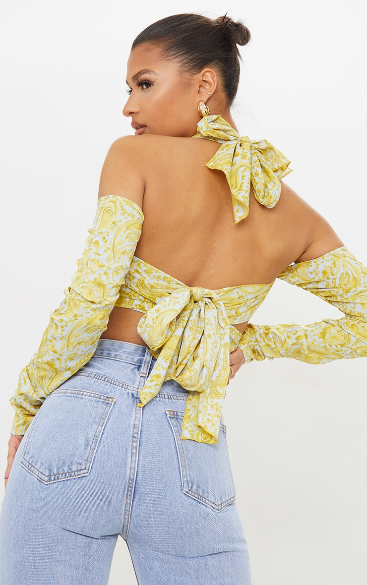 Lime Printed Satin Multiway Bardot Tie Crop Top 2