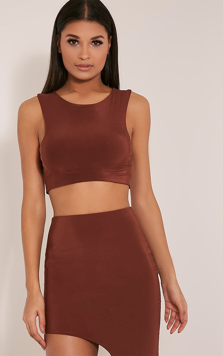 Marlee Coffee Curved Hem Crop Top 1