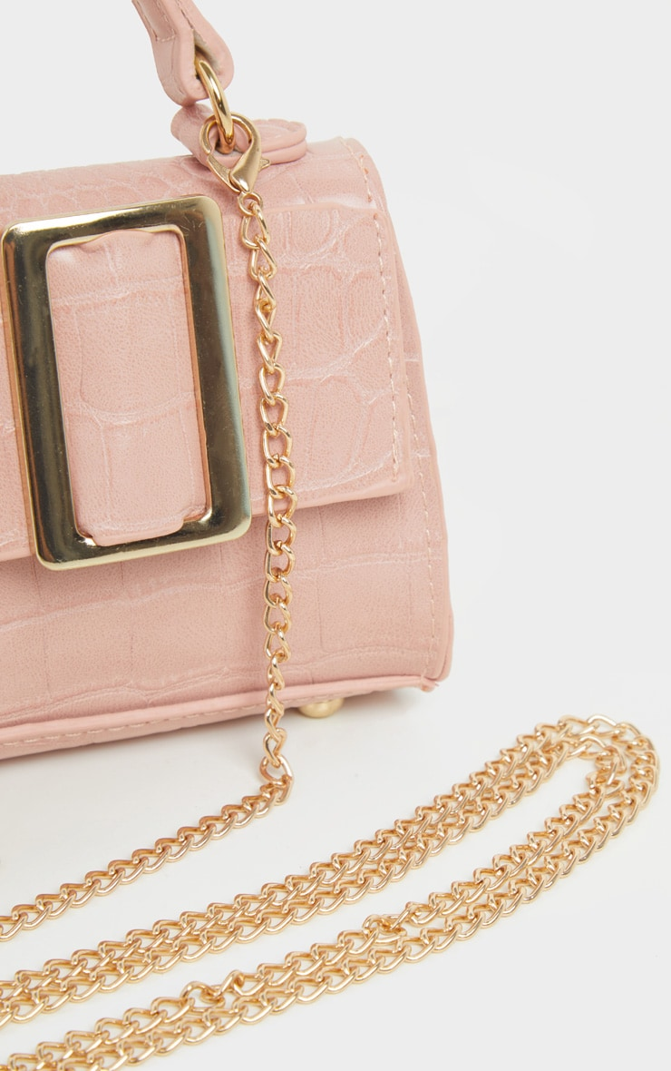 Pink Croc Rectangle Buckle Mini Bag 4
