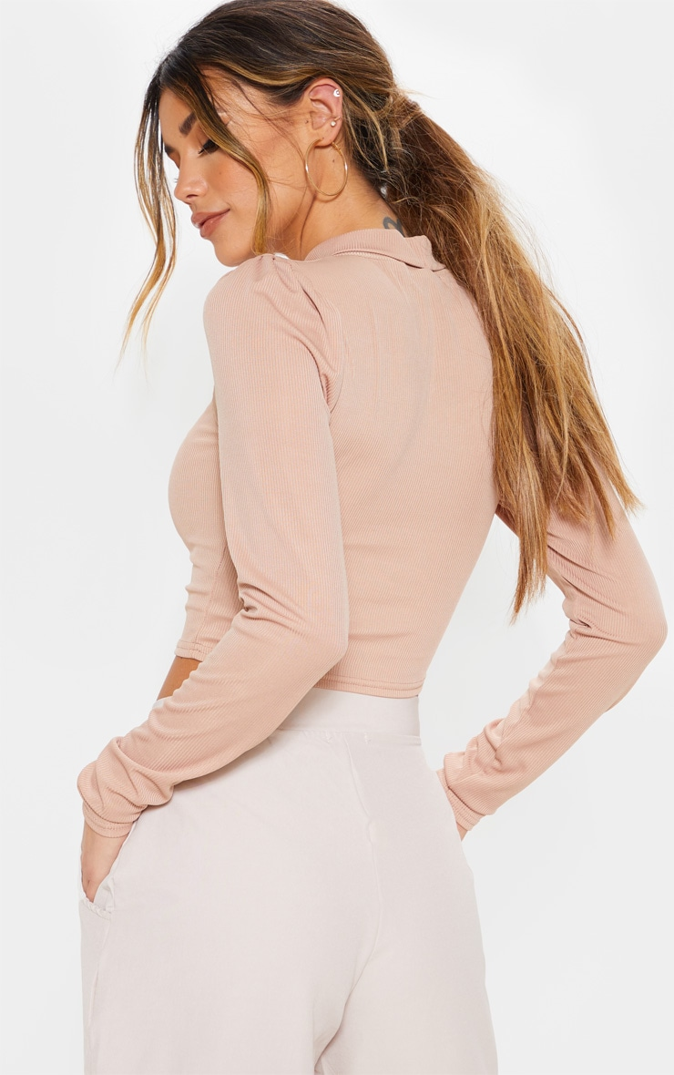Sand Rib Roll Neck Puff Long Sleeve Crop Top 2