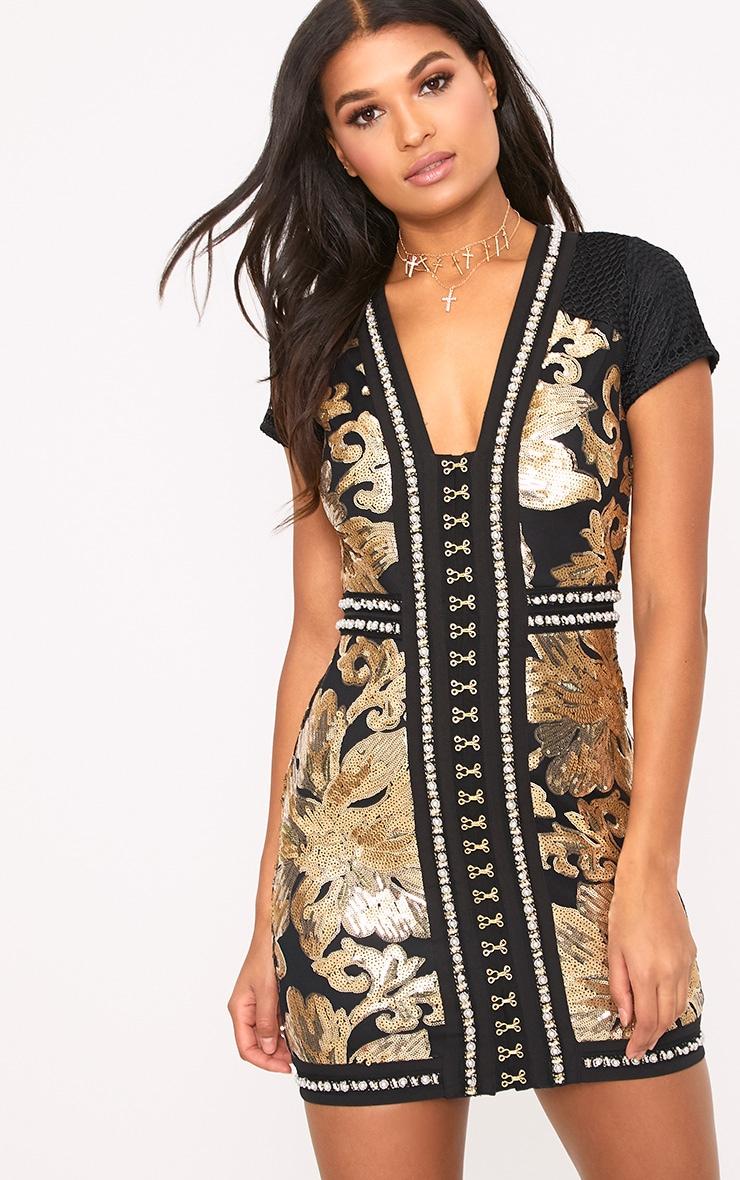 Esimee Black Premium Capped Sleeve Hook and Eye Bodycon Dress 2